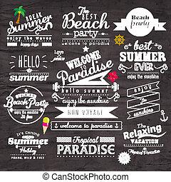 estate, tipografia, vettore, disegno, vacanza, distintivo