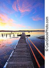 estate, tramonto, molo, e, stagno, yattalunga, australia