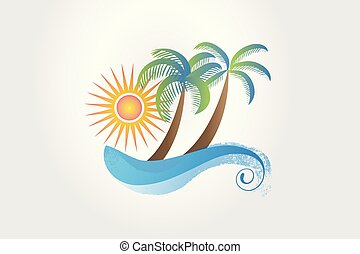 estate, tropicale, sole, albero, e, onde, logotipo