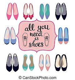 estate, tutto, moda, scarpe, iscrizione, testo, collezione, fondo, primavera, bisogno, lei, donne
