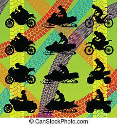 estate, tutto, pneumatico, colorito, pista, terreno, illustrazione, moto, vettore, collezione, fondo, veicolo, quad, cavalieri
