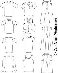 estate, uomo, collezione, vestiti