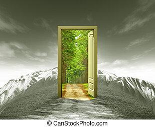 estate, vecchio, montagna, presa, paesaggio, porta, bluesky, strada