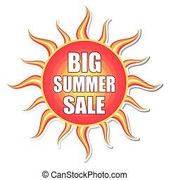 estate, vecto, sole, vendita, etichetta, grande
