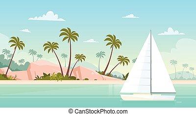 estate, vela, yacht, vacanza, riva, mare sabbia, spiaggia