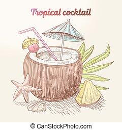 estate, vendemmia, cocktail tropicale, con, noce di cocco, frutte, e, palma, leaf., spiaggia, vacation., vettore, illustrazione