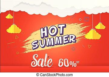 estate, vendita, 60%, scontare, caldo, vettore, disegno, sagoma