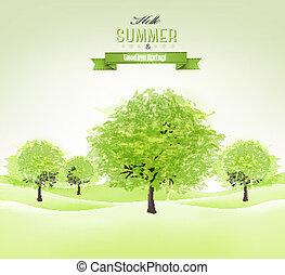 estate, verde, vector., fondo, alberi.