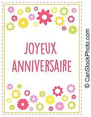 estate, versione, 10, testo, delineato, augurio, francese, colori, vettore, compleanno, fiori, scheda, felice