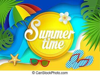 estate, vettore, carta, taglio, illustrazione