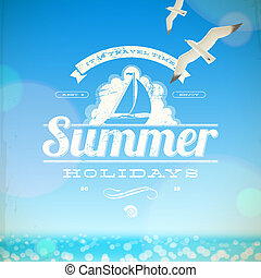 estate, vettore, emblema, vacanze