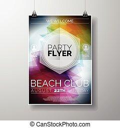 estate, vettore, manifesto, astratto, fondo., tema, aviatore, sagoma, festa, spiaggia, baluginante