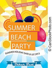 estate, vettore, parte spiaggia, manifesto