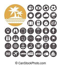 estate, vettore, set, illustrazione, icona