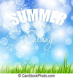 estate, vettore, vacanze, illustrazione, manifesto