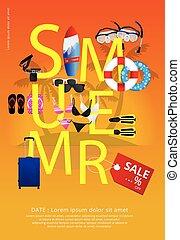 estate, vettore, vendita, illustrazione, manifesto
