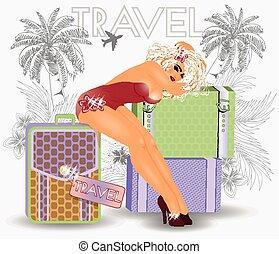 estate, viaggiare, appuntare, sexy, ragazza