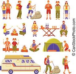 estate, viaggiare, esterno, set, icone