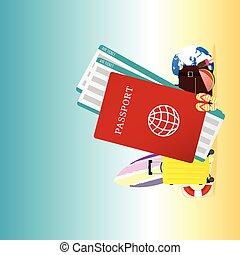 estate, viaggiare, illustrazione, passaporto