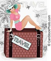 estate, viaggiare, sessuale, appuntare, ragazza