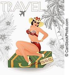 estate, viaggiare, sexy, appuntare, ragazza