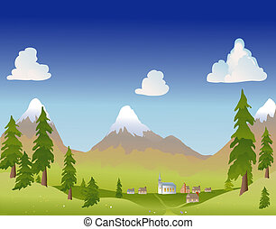 estate, villaggio montagna