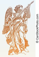 estatua, ángel, digital, original, dibujo, mármol, bosquejo