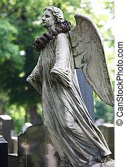estatua ángel, en, zentralfriedhof