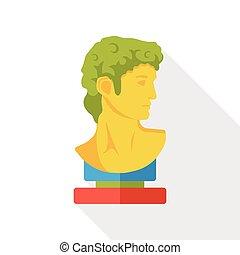 estatua, arte, plano, icono