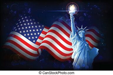 estatua, bandera, norteamericano, libertad