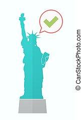 estatua, cheque, aislado, libertad, marca