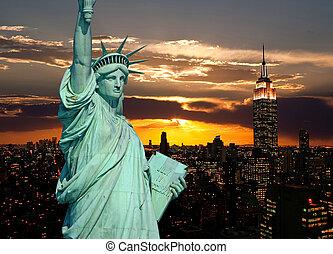 estatua, ciudad, york, libertad, nuevo