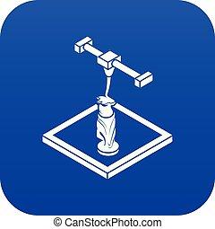 estatua, d, impresión, icono, azul, vector