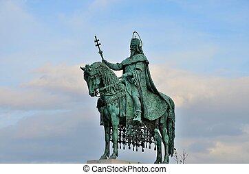 estatua, de, c/, stephen, hungría, rey