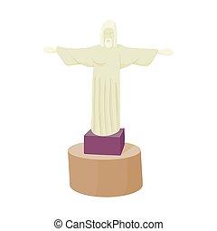 estatua, de, cristo, redentor, icono, caricatura, estilo