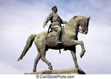estatua, de, el, bronce, caballo jinete