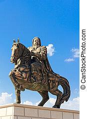 estatua, de, genghis, kan, en, el, mausoleo