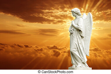 estatua, de, hermoso, ángel