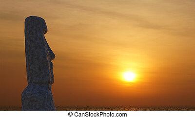 estatua, de, isla de pascua