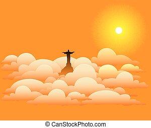 estatua, de, jesucristo, en las nubes