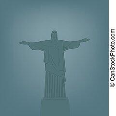 estatua, de, jesucristo, en, río, de, ja