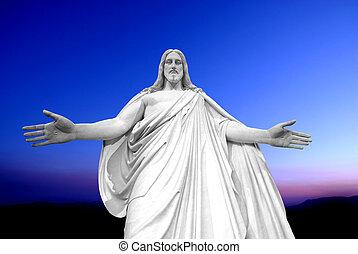 estatua, de, jesucristo