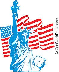 estatua de la libertad, y, bandera de los e.e.u.u