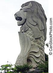 estatua de merlion, símbolo, de, ciudad de singapur, estado, en, isla de sentosa