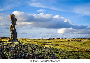 estatua de moai, ahu, akapu, isla de pascua