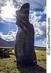 estatua de moai, ahu tongariki, isla de pascua