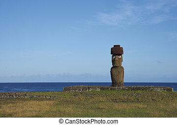 estatua de moai, isla de pascua, chile