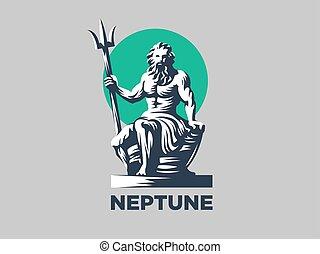 estatua, de, poseidon, o, neptuno, con, un, trident.