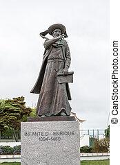 estatua, de, príncipe, henry, el, navegante, en, sagres,...
