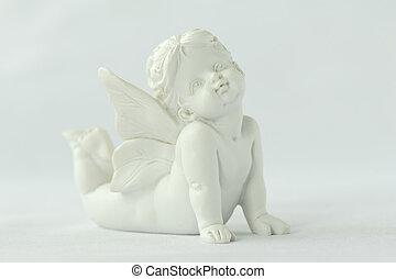 estatua, de, un, alado, ángel
